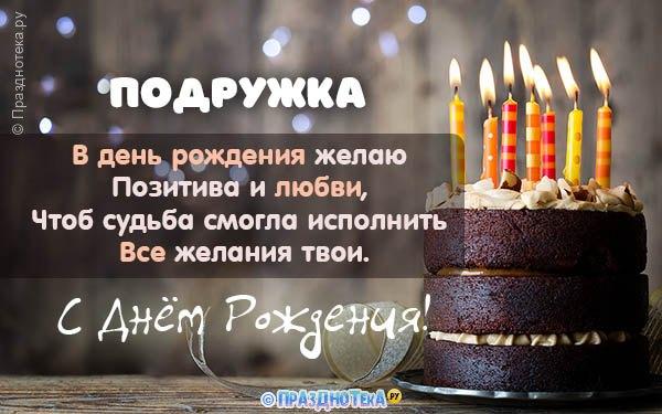 Открытка с тортом и свечами на День Рождения Подруги